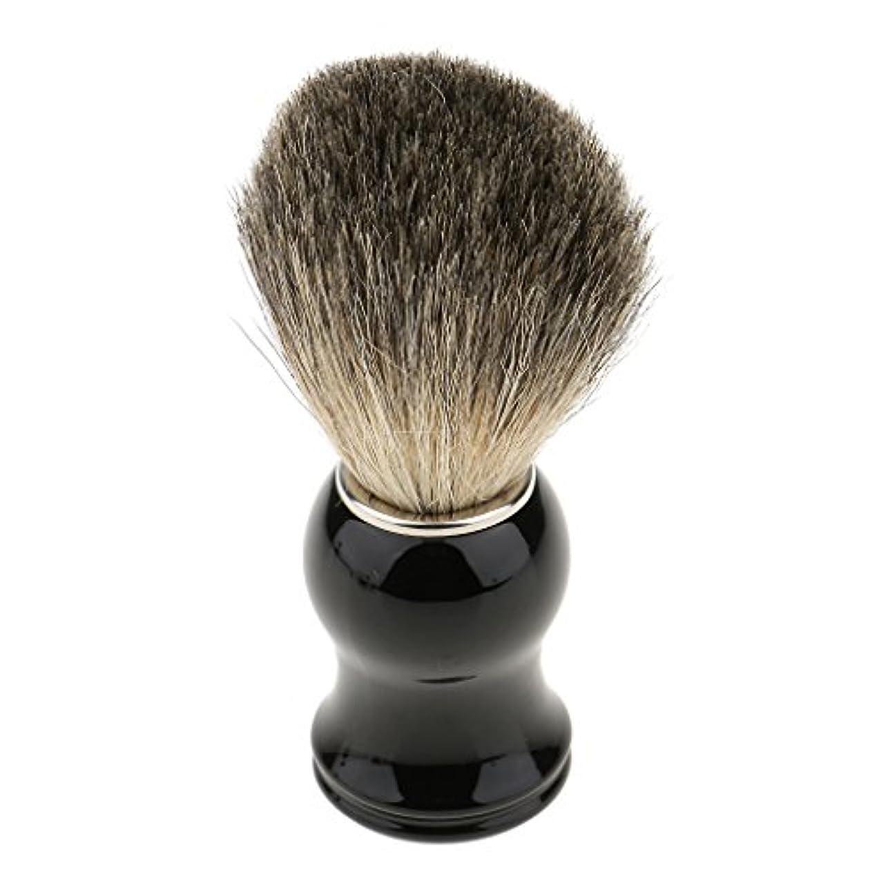 協定ケージ入場料シェービング用ブラシ 人工毛 メンズ 理容 洗顔 髭剃り 泡立ち 11.2cm 全2色 - ブラックハンドル