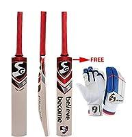 SG Max Cover カシミールウィロー クリケットバット サイズSH 無料のエコーライトクリケットバッティンググローブ付き