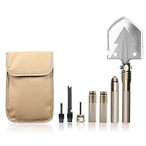 Winhi多機能シャベル アウトドアスコップ 折りたたみシャベル キャンプと園芸用品 緊急ツール 取り外し可能 折り畳み式 15機能 収納バッグ付き ゴールド