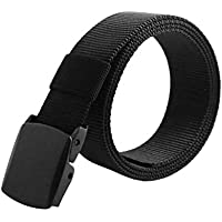 Men's Nylon Belt Military Tactical Men Belt Casual Canvas Belt No Metal Buckle,Jeans Belt (Color : Black, Size : 140cm)