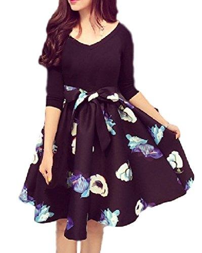 [Unscript] リボンベルト付き 花柄 プリント スカート ドッキング フレア ワンピース レディース Vネック 膝丈 エレガント パーティー お呼ばれ 袖 体型カバー 着痩せ ゆったり レトロ 大きい ドレス (XL, ブラック)