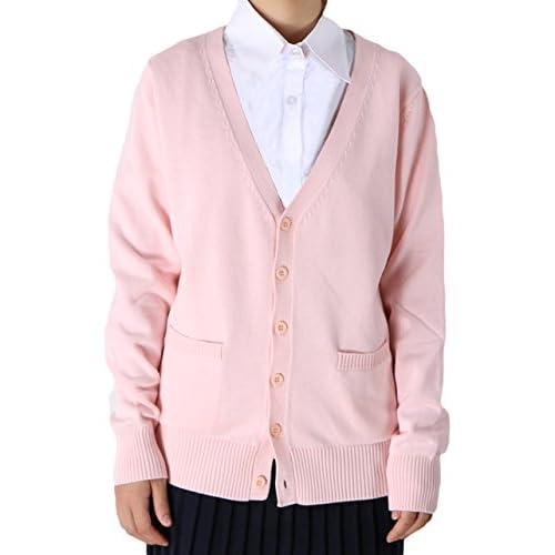 (ラボーグ)La Vogue ニットカーディガン レディース ニット コート スクールセーター 無地 トップス 長袖 アウター ゆったり 制服 ガールズ 上着 ピンク L