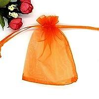 100透明収納袋 - プル/小さなギフトバッグ巾着、可能なオーガンジー生地/ソフトタッチ/複数のサイズで ギフトバッグ (Color : Orange, Size : 15*20CM)