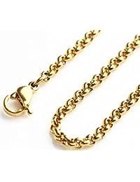 「silverKYASYA」ステンレス素材 18KGP ゴールド ロールチェーン 18Kメッキ ネックレスチェーン 金 ステンレス チェーン Roll Chain (幅2.5mm*長さ60cm)