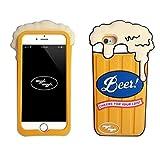 GuoDuo iPhone 7 plus 専用 ケース カバー アイフォン7プラス専用ケース おもしろ かわいい 3D シリコン 保護ケース 携帯ケース (iPhone7plus, イエロー/ビール)