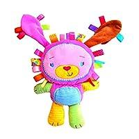 【ノーブランド品】赤ちゃん ガラガラ リングきしむ ぬいぐるみ ベビーベッド吊り掛け 人形 全4パタン - ウサギ