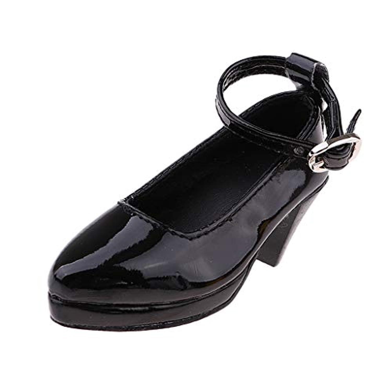 Baoblaze 1/3 BJDドール適応 人形靴 ハイヒール シューズ PUレザー ブラック