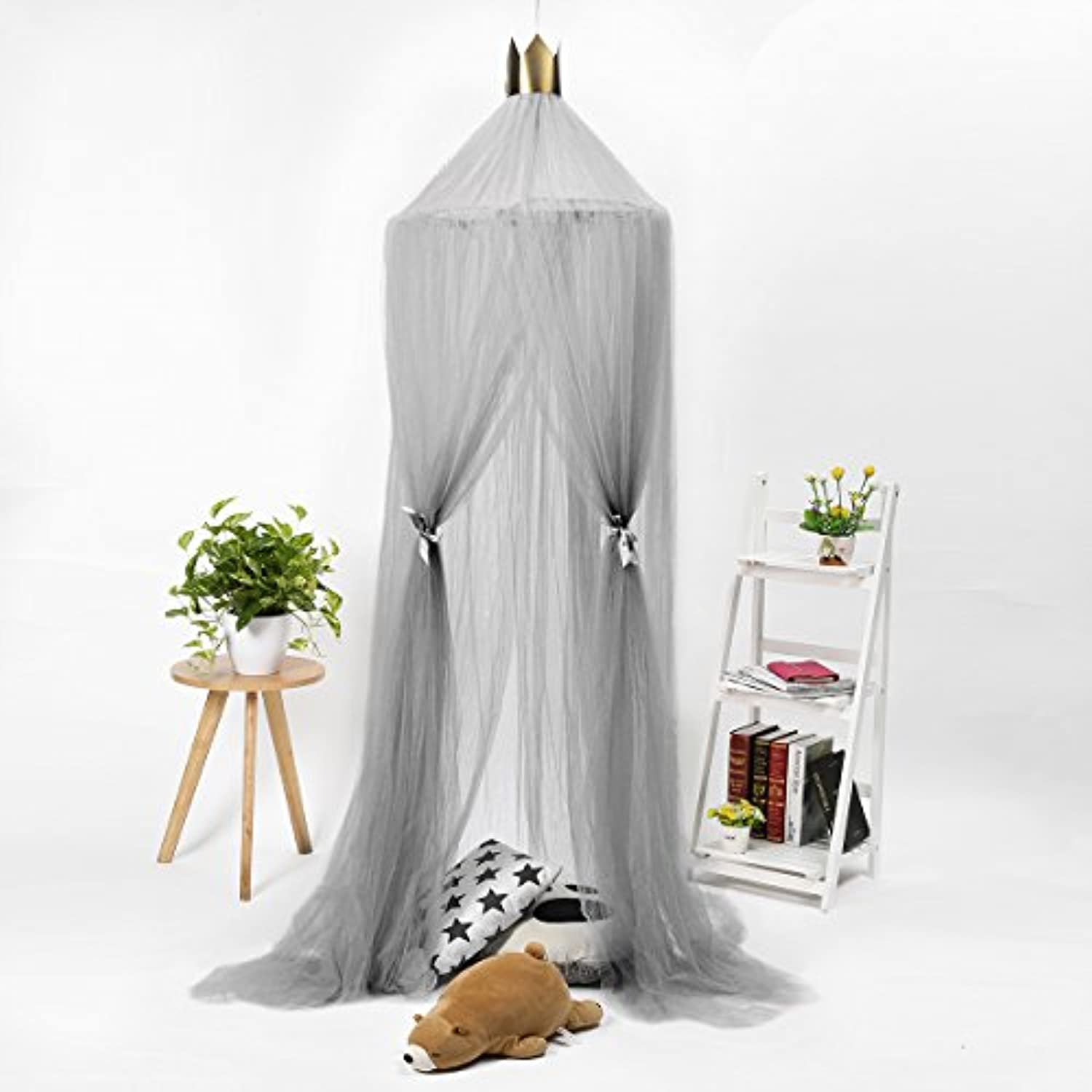(Grey) - Jeteven Polyester Dome Bed Canopy Kids Play Tent Mosquito Net with Crown for Baby Kids Indoor Outdoor Playing Reading Height 240cm/94.5in Grey