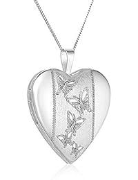 Sterling Silver Butterflies Journey Heart Locket Pendant Necklace, 46cm By Regetta Jewellery
