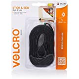 VELCRO Brand - Stick & Sew Hook & Loop| Easy Alternative to Zips, Buttons & Studs| 25mm x 1m Tape | Black