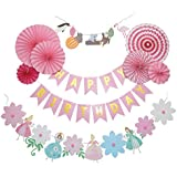 PAN 誕生日 飾り付け バースデー プリンセス ガーランド ペーパーファン セット 女の子