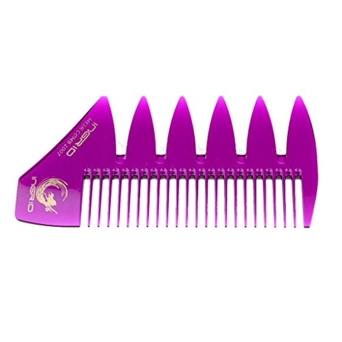 毛細血管買収安全プラスチック製 コーム 髪 櫛 くし 携帯用 ヘアケア メンズ & レディース 全4色 - パープル