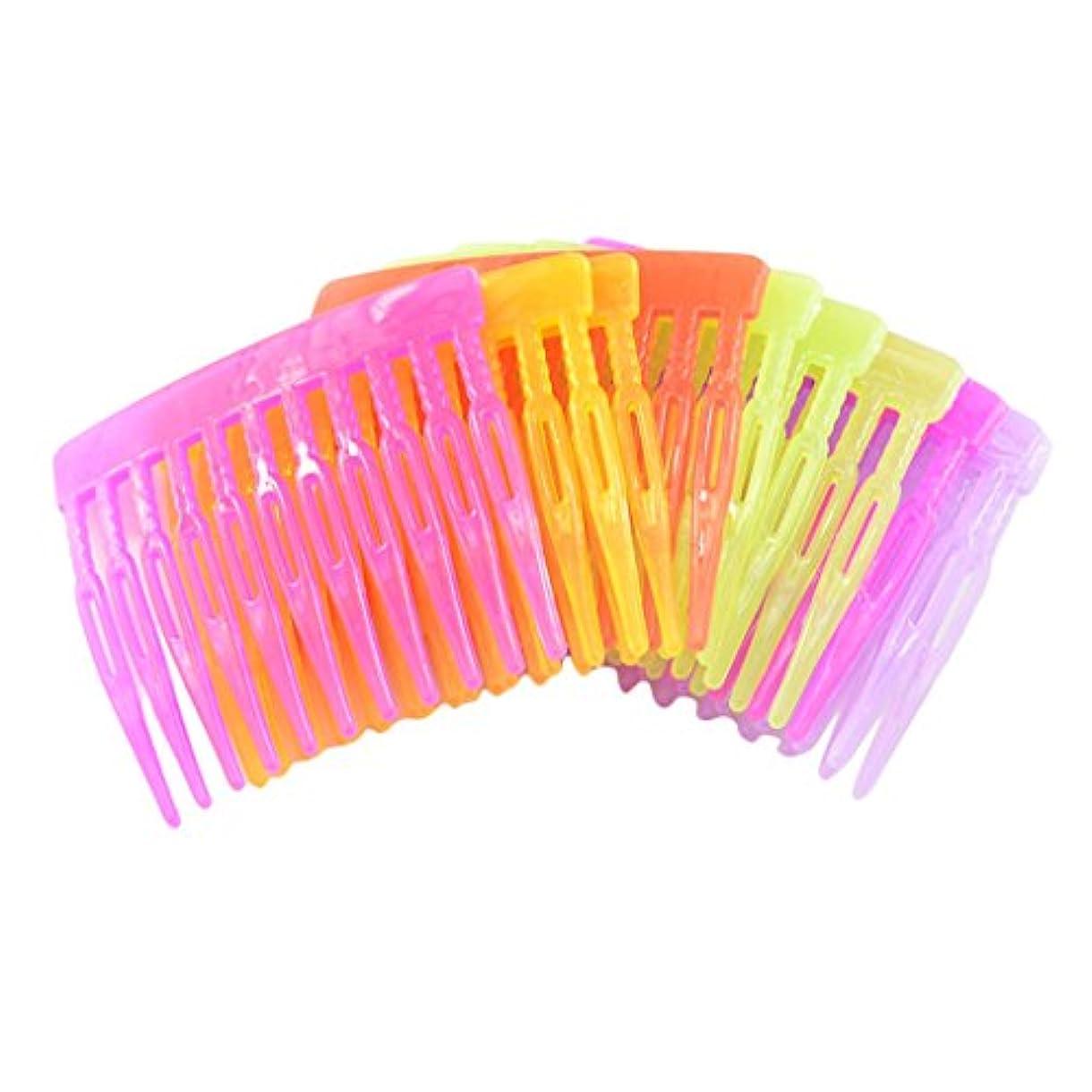 長方形満足できるハーブPerfk ヘアクリップ アーチ型 23歯 混合色 アクセサリー 10個入り