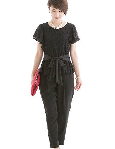 15fcb6423a7f5 プールヴー セットアップ パンツドレス お呼ばれ 女子会 レディース ブラック 3Lサイズ 15号 ドレス