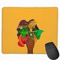 アフリカの女性の頭飾り マウスパッド ノンスリップ 防水 高級感 習慣 パターン印刷 ゲーミング ホビー 事務 おしゃれ 学習