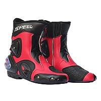 IPOTCH 2個 バイクシューズ バイク用靴 換気設計 足首関節保護 全18種類 - レッド, 43