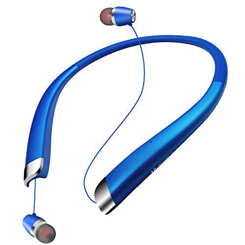 SEOBIOG Bluetooth イヤホン 高音質 14時間連続再生 収納式ワイヤー [メーカー1年保証] CVC6.0ノイズキャンセリング マイク付き ハンズフリー通話 ネックバンド型 スポーツ ブルートゥース イヤホン ワイヤレス イヤホン Bluetooth ヘッドホン (ブルー)