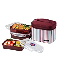 Lock & Lock Rectangular Lunch Box 3-Piece Set with Insulated Burgundy Stripe Bag by LockandLock