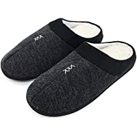 FUNKYMONKEY Men's Winter Warm Slippers Cashmere Upper Berber Fleece Lined Anti-Skid Comfort House Shoes