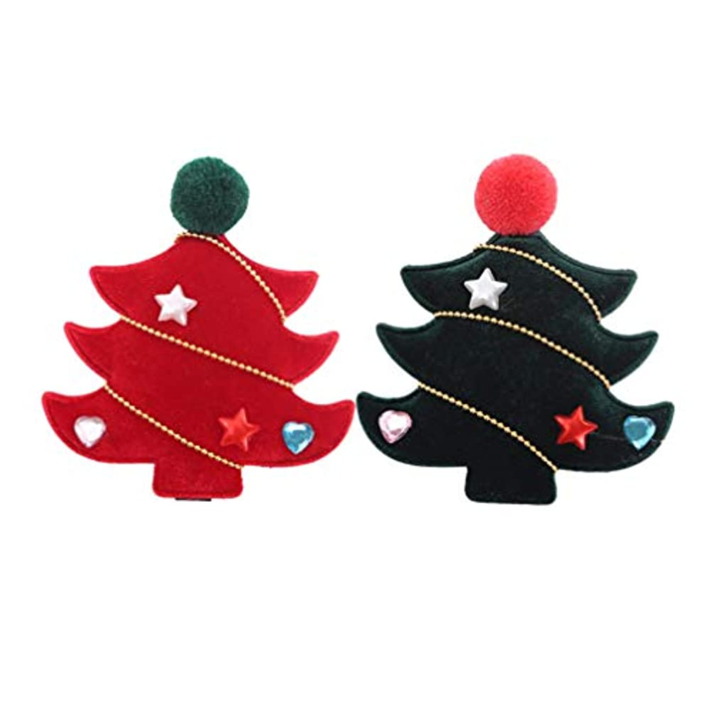 制限潜むふくろうSUPVOX 4ピースクリスマスツリーヘアクリップフランネルラブリークリスマスツリーヘアピンヘアアクセサリー用女の子キッズ子供