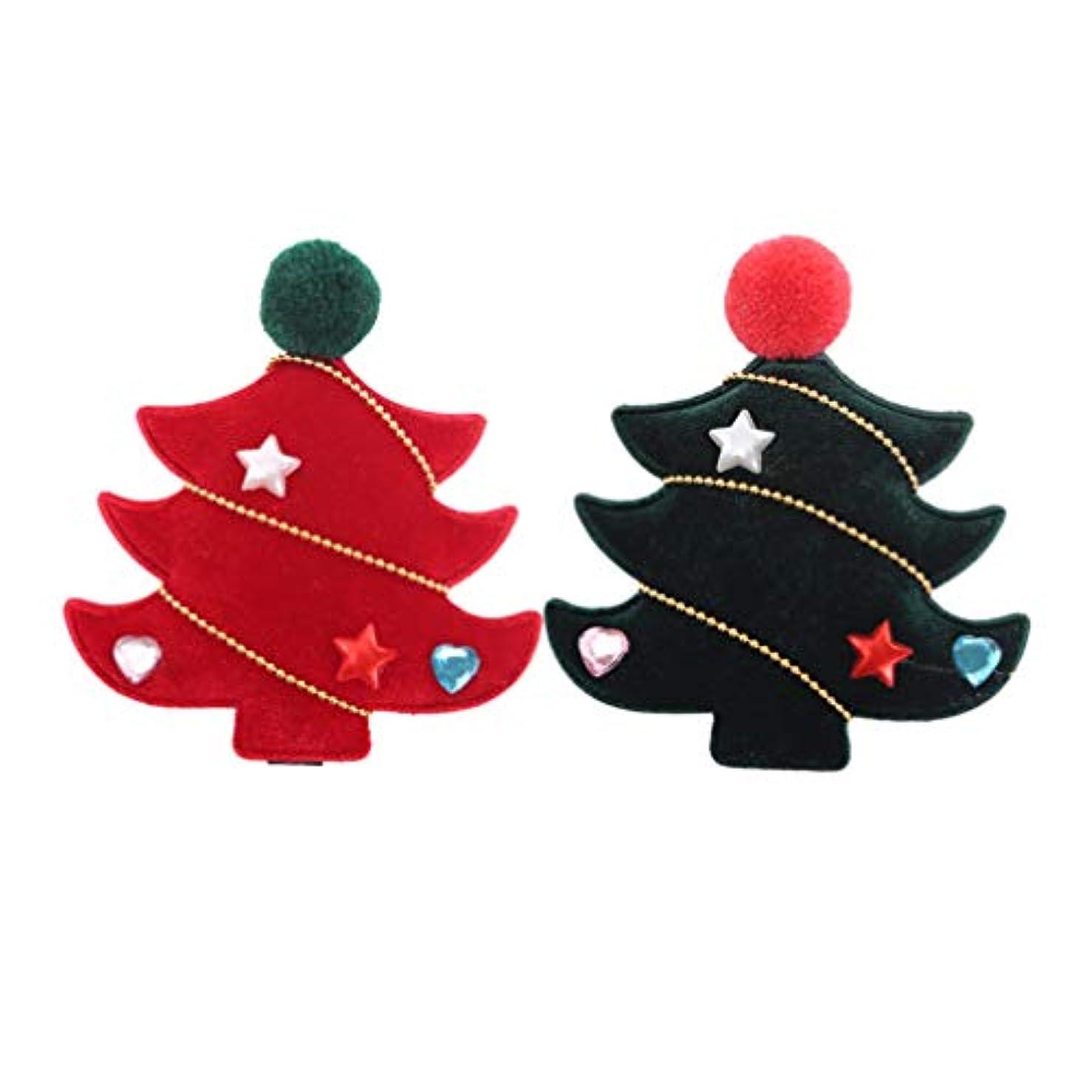 リーン地味な習慣SUPVOX 4ピースクリスマスツリーヘアクリップフランネルラブリークリスマスツリーヘアピンヘアアクセサリー用女の子キッズ子供
