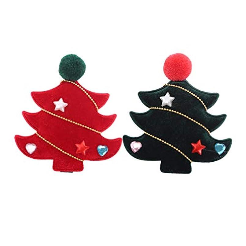 リビングルーム世界に死んだ蒸し器SUPVOX 4ピースクリスマスツリーヘアクリップフランネルラブリークリスマスツリーヘアピンヘアアクセサリー用女の子キッズ子供