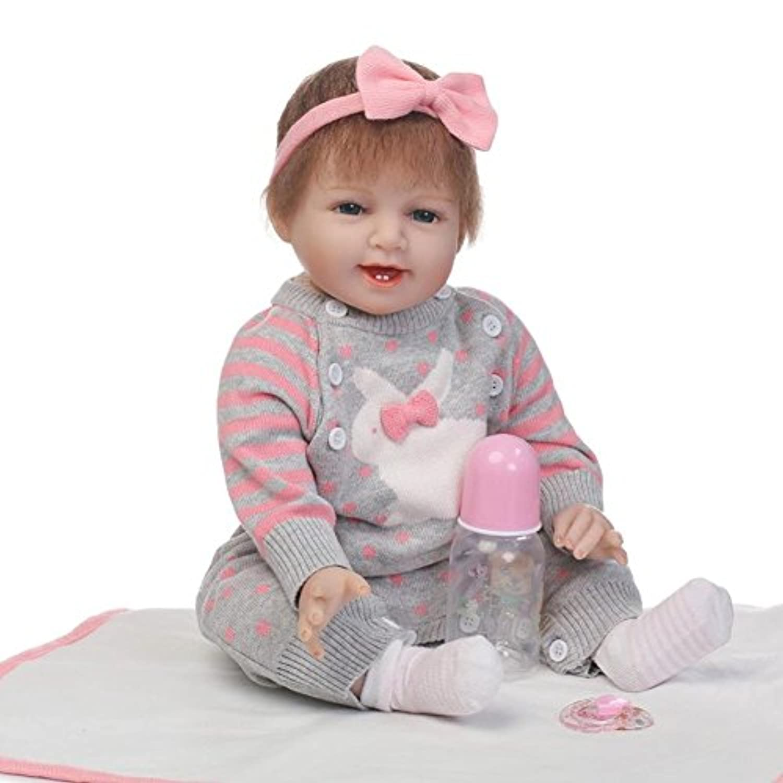 Dollshowソフトシリコンビニール新生児人形Lifelike RebornベビーAlive幼児用ガールズ磁気口22インチ55 cm