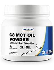 Nutricost C8 MCTオイル パウダー 1LB (ノンフレーバー味)、C8(95%)、非GMO、グルテンフリー