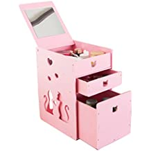 White Bathroom Waterproof Storage Box Skincare Cosmetics Storage Box Dressing Table Finishing Cabinet (Color : Pink)