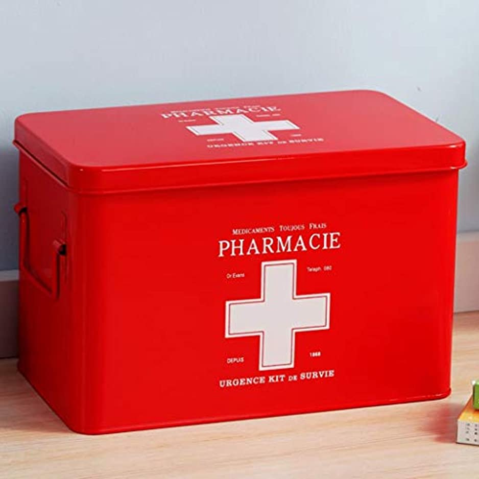 労働者債権者典型的なIUYWL 家庭用医薬品収納ボックス、ポータブル診断ボックス、金属製家族用救急箱 (Color : Red)