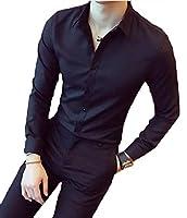 Sodossny-JP メンズロングスリーブスリムフィットシンペルフリースビジネスボタンダウンシャツ Black S