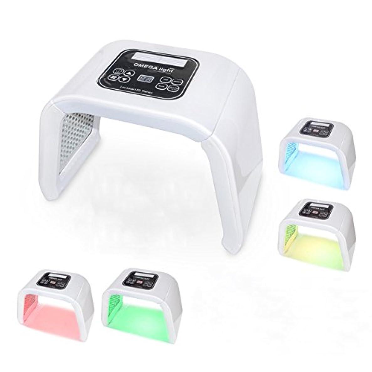 無視できるダンスタール光子の若返り機械携帯用4色LEDの反老化の美の器械,White