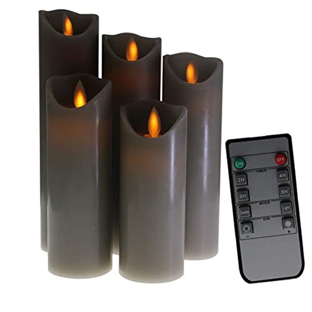 シミュレートするもオンKitch Aroma グレーフレームレスキャンドル 電池式LEDピラーキャンドル 動く炎の芯 リモートタイマー付き 5個パック