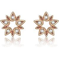Italina Stud Earrings Cubic Zirconia Flower Shaped Jewelry Earrings for Women Girls Fashion Rhodium/Gold/Rosegold Plating