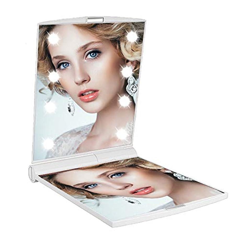 許可気まぐれな所有権LED付き コンパクトミラー 化粧鏡 折りたたみ式 2倍拡大鏡付き 両面鏡 【暗い場所でもお顔がはっきりと確認できるLEDミラー】