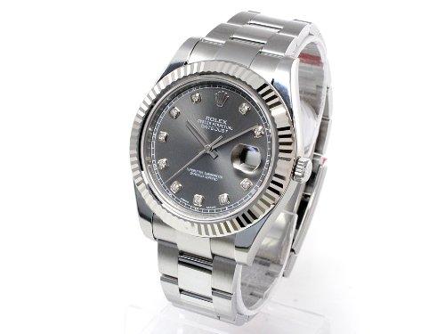 (ロレックス) ROLEX 腕時計 デイトジャストⅡ 116334G グレー 10Pダイヤモンド メンズ [並行輸入品]