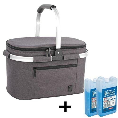 22L クーラーバスケット+2つ保冷剤 クーラーバッグ クーラーボックス 保冷バッグ 折りたたみ アウトドア かご カゴ (ブラック+保冷剤)