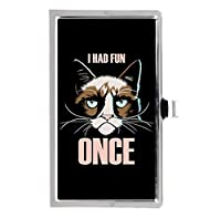 不機嫌な猫は一度の楽しみがありました ステンレス鋼ポケットのビジネス名のクレジットカードケースボックス財布