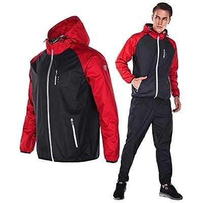Dripx サウナスーツ 大量発汗 燃焼サポート フード付き 上下セット メンズ (XL, レッド)