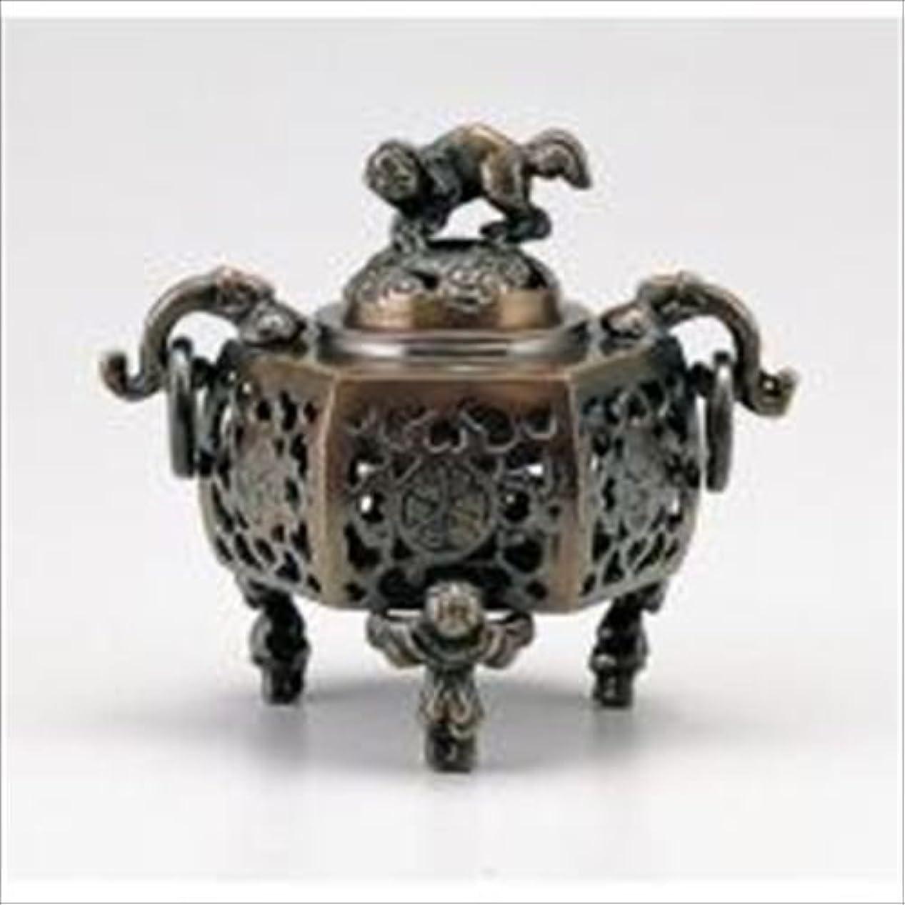 白い劇的面倒竹中銅器 122-05 香炉 葵 かん付香炉 山吹色