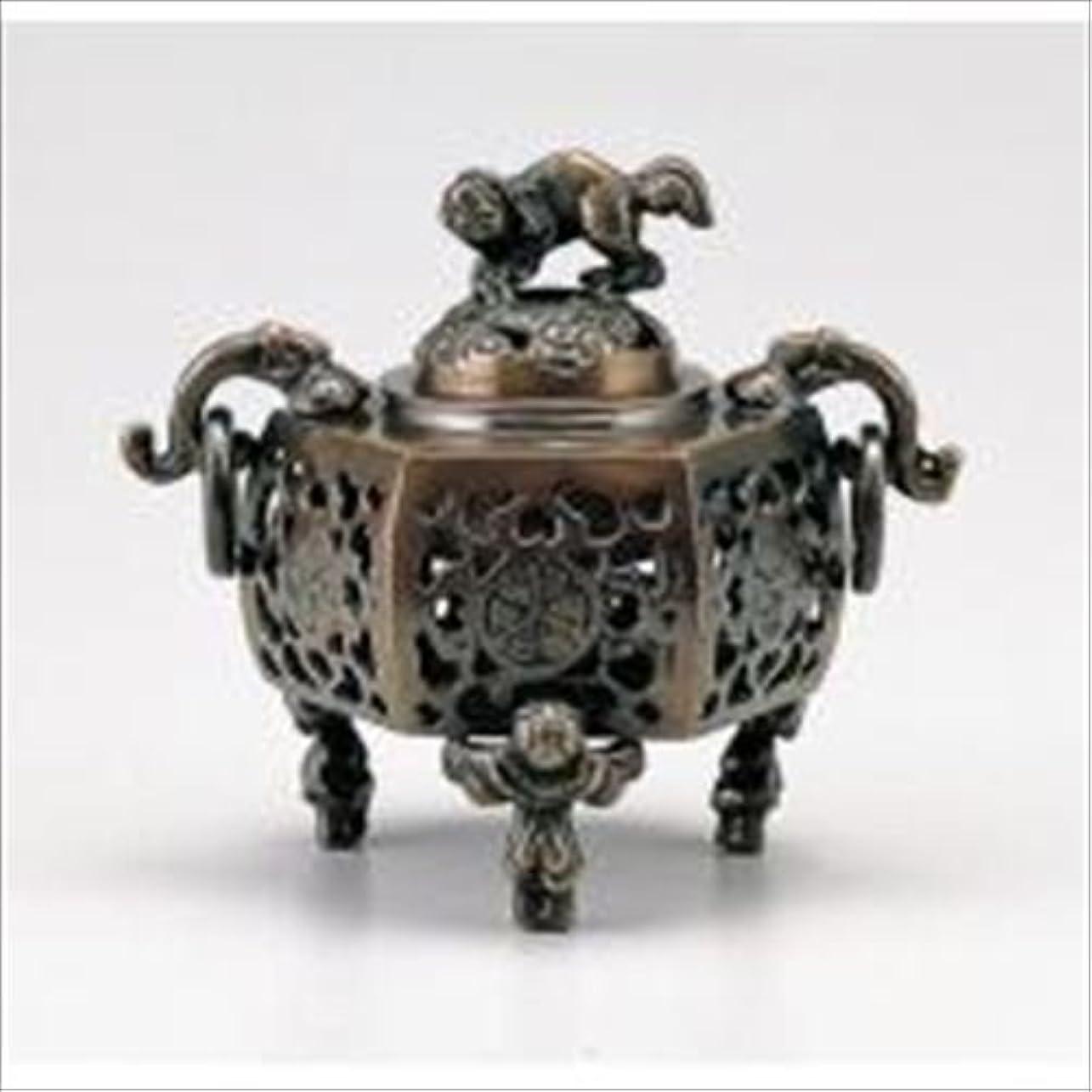 で出来ているひそかに絵竹中銅器 122-05 香炉 葵 かん付香炉 山吹色