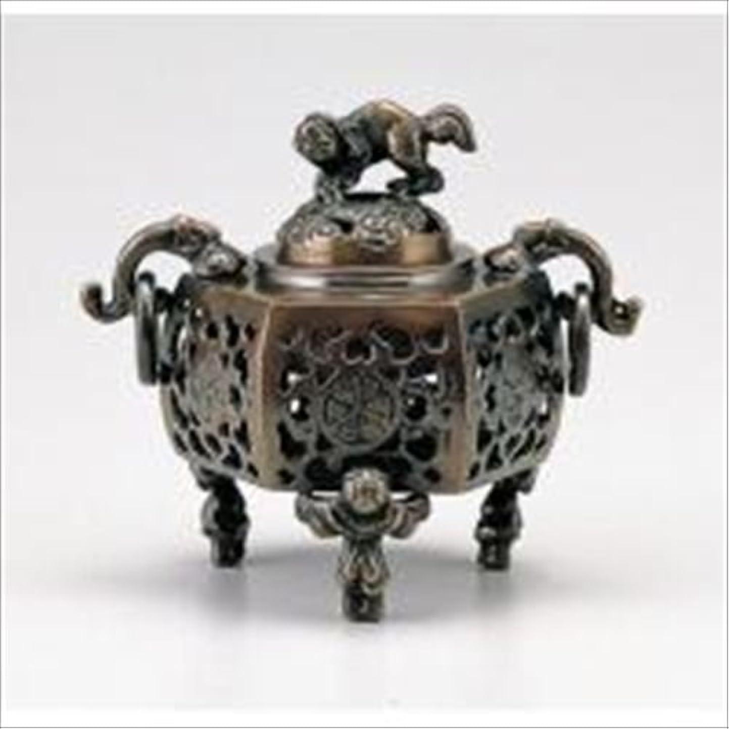 経済的真夜中専門化する竹中銅器 122-05 香炉 葵 かん付香炉 山吹色