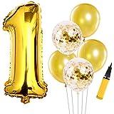 1歳誕生日飾り付け ゴールド 数字1 紙吹雪入れラテックス風船 男の子 女の子 誕生日 ベビーシャワー 1歳飾り イベント 部屋装飾 ポンプ付き