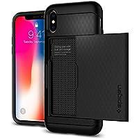 【Spigen】 スマホケース iPhone X ケース 米軍MIL規格取得 耐衝撃 IC カード収納 クリスタル・ウォレット 057CS22151 (ブラック)