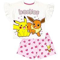 Vanilla Underground Pokemon Besties Pikachu Eevee Girl's Pink White Short Sleeve Short Leg Pyjamas