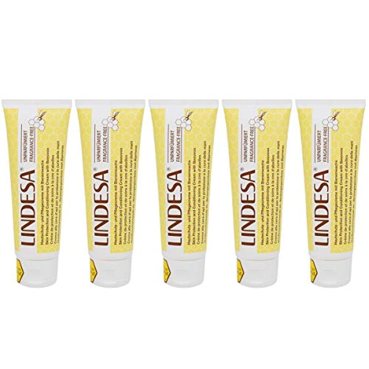 大脳円周同様にLINDESA リンデザ ハンド&スキンケアクリーム 無香料タイプ 75ml 日本国内正規品 5本セット