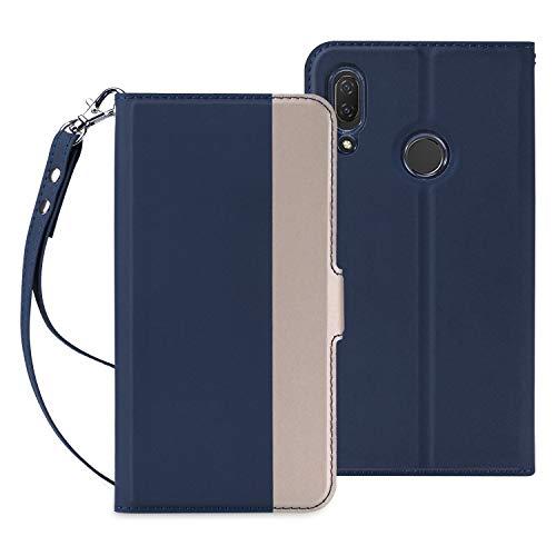 HUAWEI nova lite 3ケース SHINEZONE HUAWEI nova lite 3 手帳型 超耐磨高級PUレザー スタンド機能付き ストラップ付き 財布型 ケース (Huawei P Smart 2019ケース ブルー)