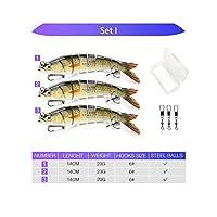 ルアーセットの8つのセグメントクランクベイトハード人工ベイトキットSwimbaitパイク釣りルアー、セットI釣りクリニーク14センチメートル23グラムシンキングWobblers