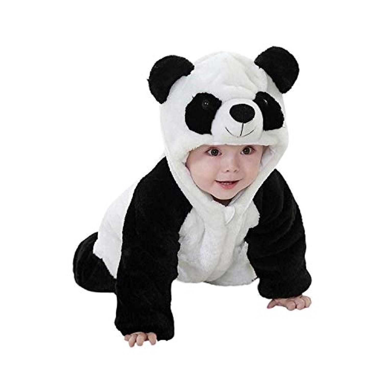 HaoZhiltd パンダ 新生児服 コスチューム ベビー長袖フード付きロンパース かわいい着ぐるみ 前開き ジッパー カバーオール ルームウェア 防寒着 子ども服 赤ちゃん プレゼント