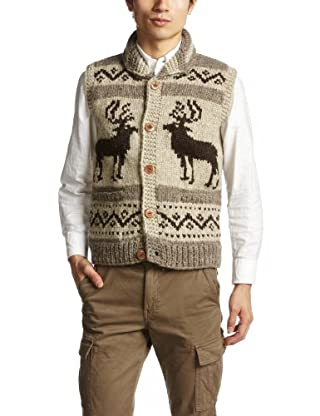 Canadian Sweater Company Deer Button Vest 09CN10: Moss / Grey